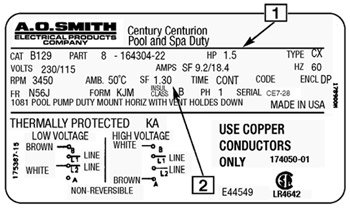 aosmithmotor_label a basic guide to understanding pool pump motors Century Pool Pump Wiring Diagram at gsmx.co