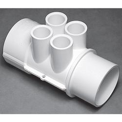 "Waterway Manifold 2"" S x 2"" S x (4) 1/2"" Ports - White"