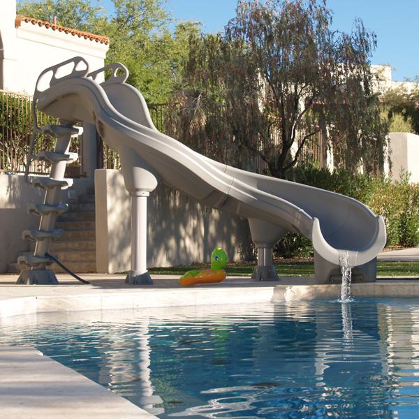 Inter fab adrenaline left turn pool slide complete summit gray for Swimming pool water slide parts