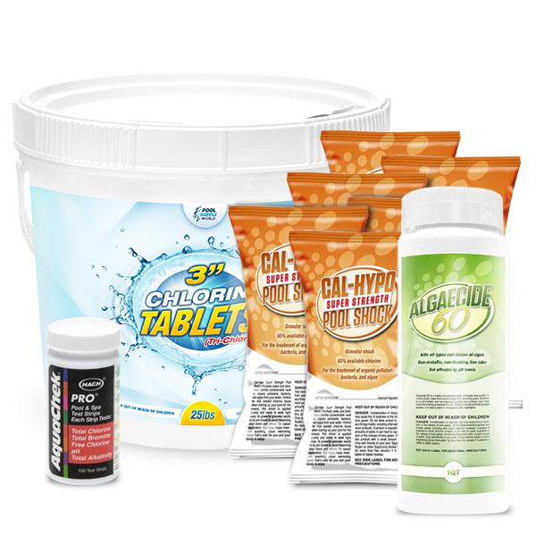 PoolSupplyWorld Chemical MONTH Kit including 25lbs Chlorine tablets, 6lbs Pool Shock, 1qt Non-Metallic Algaecide 60, and AquaChek Pro Test Strips
