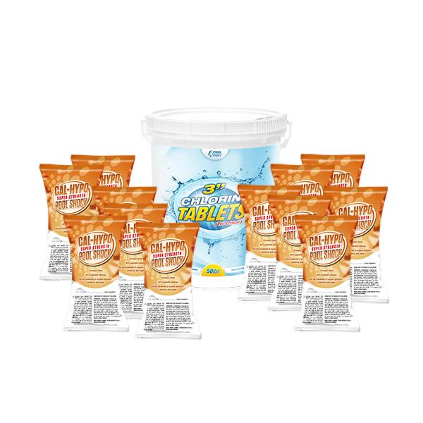 PoolSupplyWorld Clean-Up Value Kit with 50lbs Chlorine Tabs and 12 Pack of Shock