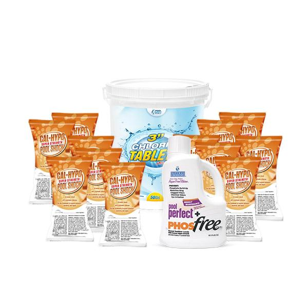 PoolSupplyWorld Fix-Up Value Kit with 50lbs Chlorine Tabs, 12 Pack of Shock, and Pool Perfect + PhosFree