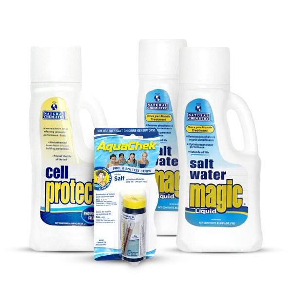 PoolSupplyWorld Saltwater VALUE Monthly Sanitizing Kit including Cell Protect, AquaCheck White Salt Test Strips, and extra Saltwater Magic Liquid
