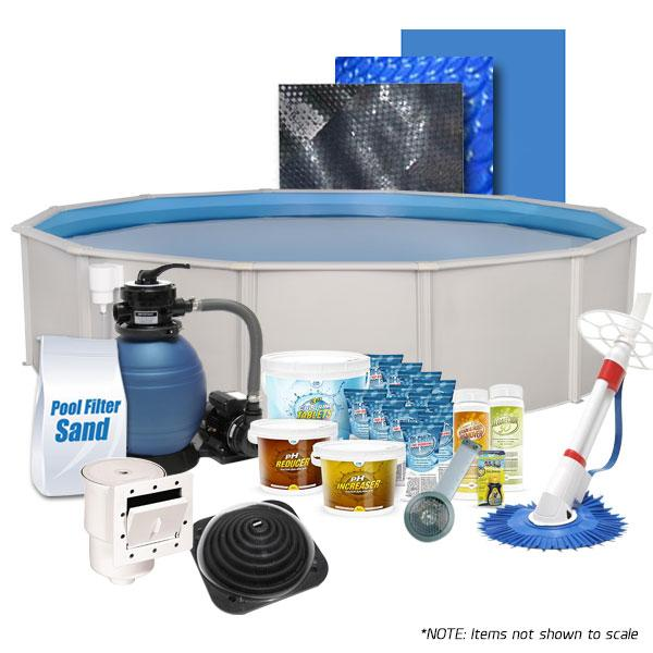 Oceania  Round 18' Above Ground Pool Kit with Liner, Ladder, Skimmer, Pump, Filter, Cleaner, Covers, Chemicals, and more!