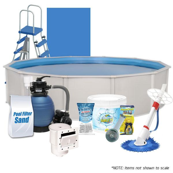 Oceania  18' Round Above Ground Pool Kit with Liner, Ladder, Skimmer, Pump, Filter, Cleaner, Chlorine, and more!