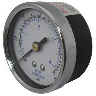 GAUGE, PRESSURE 1/4 in. REAR/BACK CONNECTION NPT 0-60 PSI 2 in. FACE - PEM1405