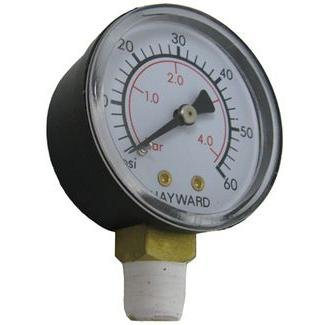 GAUGE, PRESSURE 1/4 in. BOTTOM CONNECTION NPT 0-60 PSI 2 in. FACE HAYWARD OEM - ECX270861
