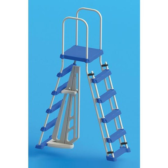 Above Ground Pool Entry Ladder with Safety Barrier