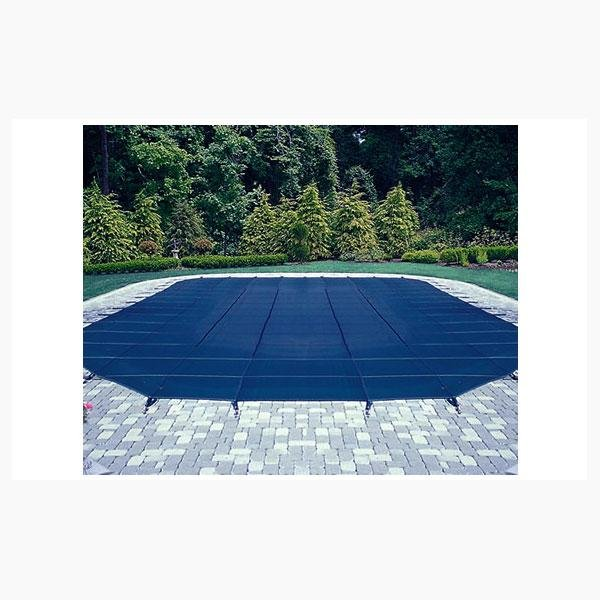 14' x 28' Rectangle Safety Cover with Center End Step, Blue 12-Year Mesh