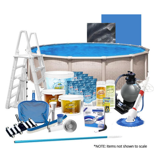 Poolsupplyworld Heritage Pool Package 24 39 Round Above Ground Pool Kit With Pump Filter Ladder