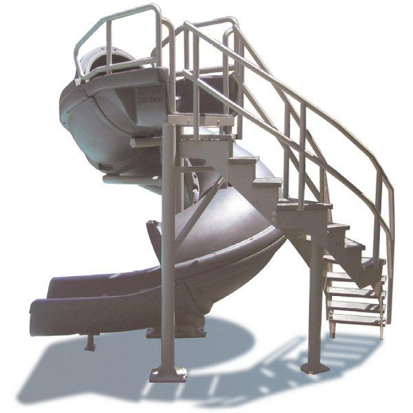 Vortex Closed Flume Complete Pool Slide with Staircase, Blue
