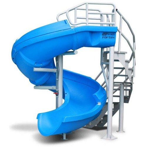 S R Smith Gray Vortex Open Flume Complete Pool Slide With Ladder