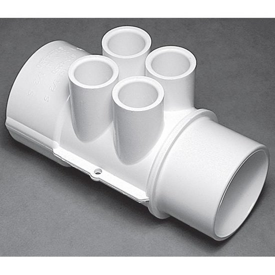 Waterway Manifold 2 in. S x 2 in. S x (4) 1/2 in. Ports - White