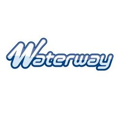 5-1/4 in. Waterway Power Storm Plastic/Stainless Steel Swirl Twin Roto Spa Jet logo