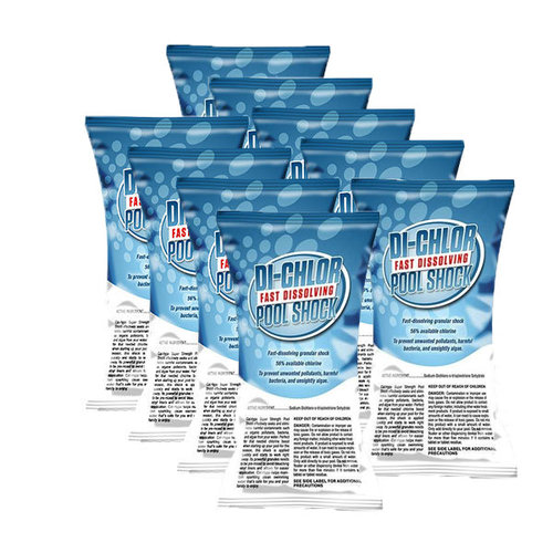 Chlorine Shock 27lbs Di-Chlor Fast Dissolving Pool Shock for Swimming Pools, Kills Algae (1lb Bags, Pack of 27)