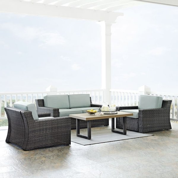Crosley KO70096BR Beaufort 4-Piece Wicker Set. Love Seat, Two Chairs and Coffee Table